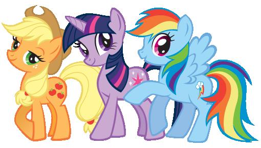 Applejack, Twilight Sparkle, and Rainbow Dash